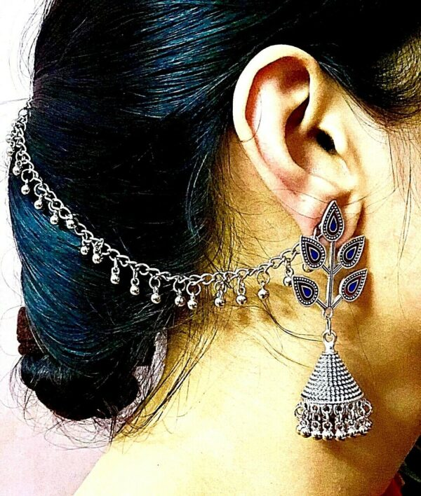 Afgani Jewelry Blue Silver Oxidized Plated Drop / Dongle Earrings with Chain