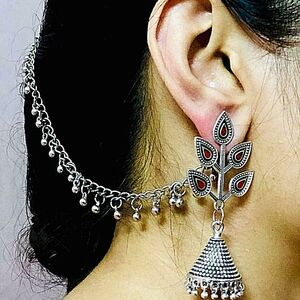 Oxidized Red Silver Plated Afgani Indian Drop / Dongle Earrings with Chain