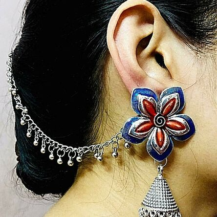 Flower Blue Red Silver Oxidized Plated Drop / Dongle Earrings with Chain Afghani
