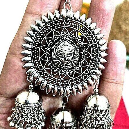 Maa Durga Earrings Silver Plated Oxidized Jhumki Earrings Drop / Dongle – B1