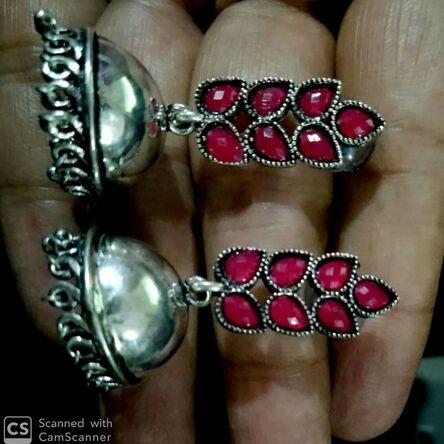 SILVER OXIDIZED INDIAN KOLHAPURI STONE BEADS CHANDELIER BRIDAL EARRINGS