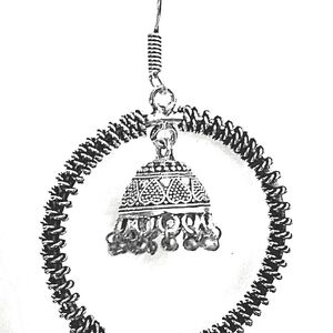 Indian Traditional Bollywood Round Shape Earrings German Silver Plated Oxidized