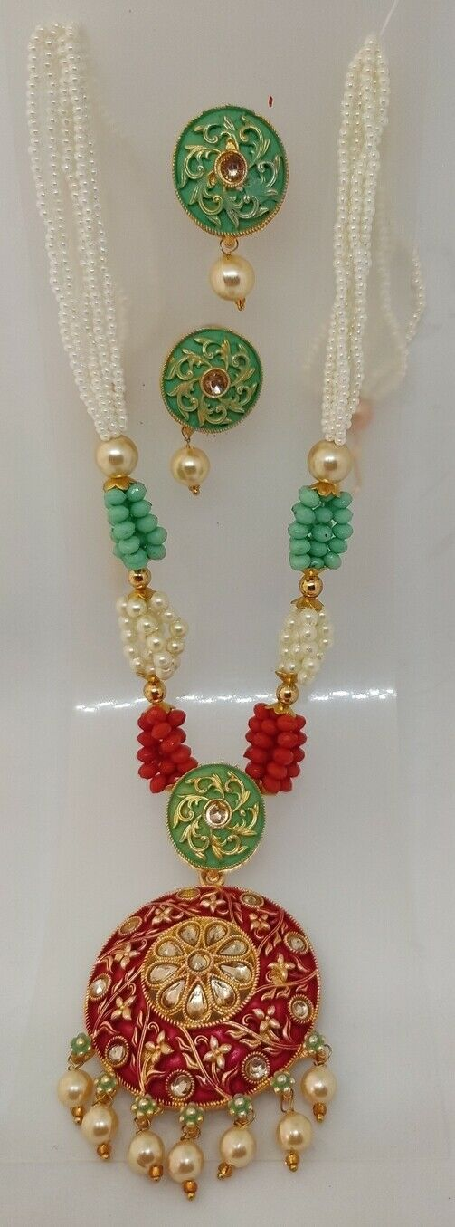 Multi Color Green Indian Long Necklace Set Gold Plated Bridal Pearl Mala Set