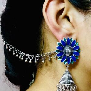 Afghani Tribal Blue Green Silver Oxidized Plated Drop Dongle Earring + Ear Chain