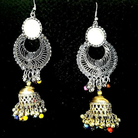 Indian Traditional Earrings Mugal Jhumka German Silver Plated Oxidized jewelry