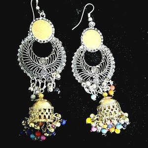 Dual Tone Bollywood Antique Indian Kashmir Oxidized Jhumka Mughal Jhumki Beads
