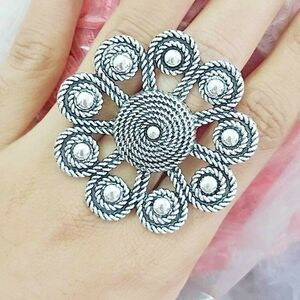 Bollywood Oxidized Silver Plated Adjustable Ring Jewelry women Free Size