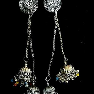 Indian Tribal Kashmir Oxidized Dual Tone Mughal Jhumka Silver Plated Bollywood