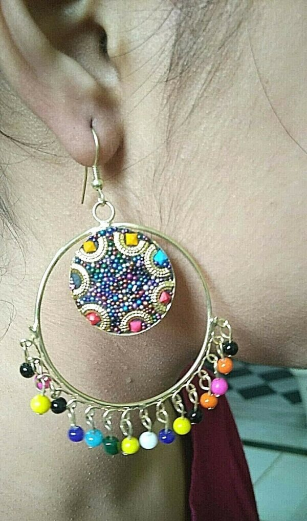 Antique Indian Kashmir Oxidized Mughal Jhumka Plated Bollywood Color Full Beads