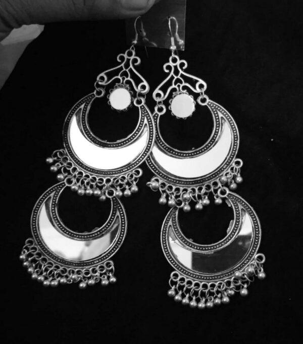 Bollywood Antique Indian Kashmir Oxidized Jhumkas Mughal Jhumka Silver Plated