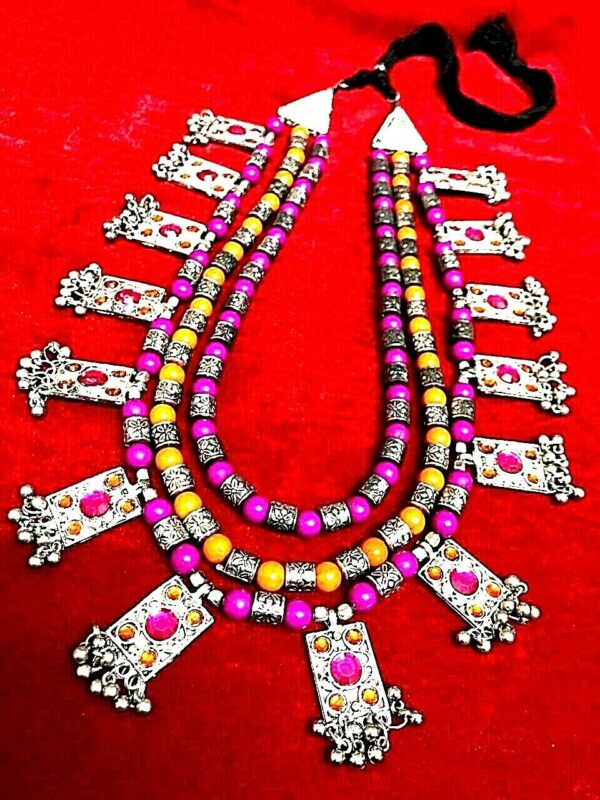 Bollywood Antique Pink Orange Silver Plated Oxidized 3 Line Big Necklace