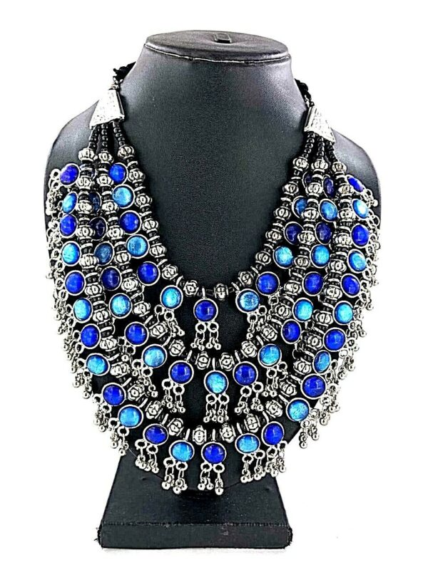 Bollywood Antique Traditional Silver Oxidized Plated Blue 3 Line Stone Necklace