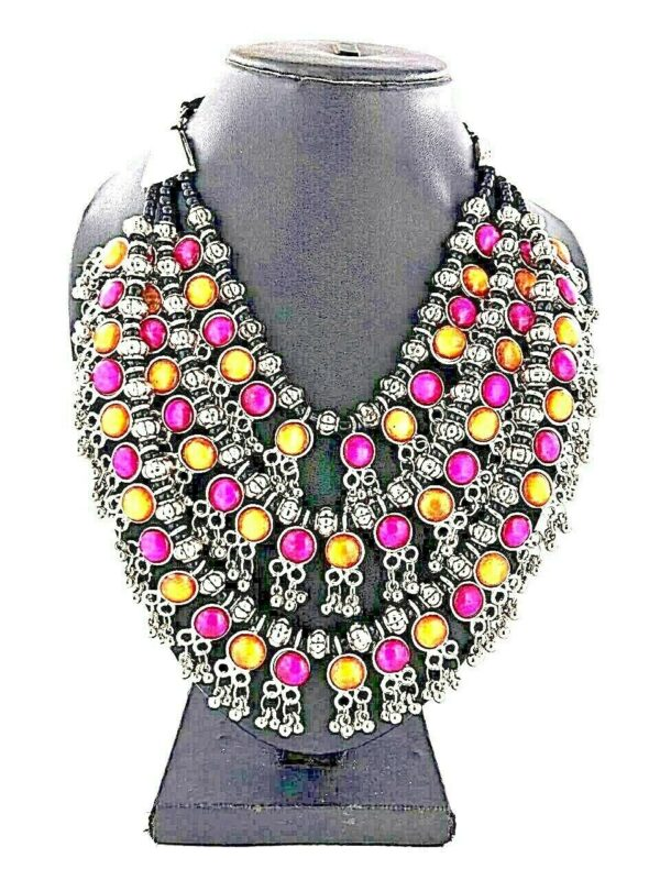 Bollywood Antique Yellow Magenta Silver Oxidized Plated 3 Line Stone Necklace