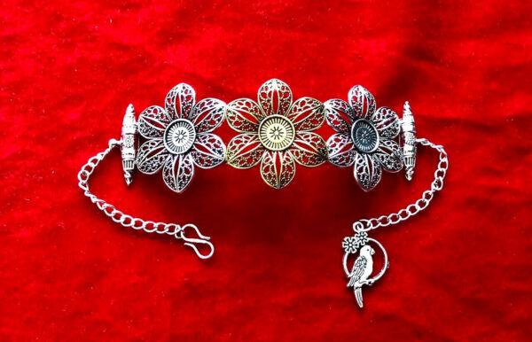 Dual Tone Free Size Indian Oxidized Bangle Silver Plated Oxidized Bracelet