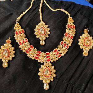Bollywood Traditional Fashion Gold Tone Kundan Bridal Party Ethnic Jewelry Set
