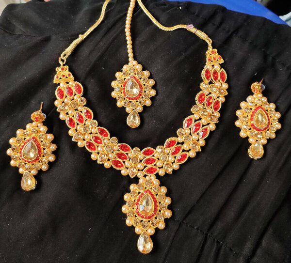 Bollywood Traditional Fashion Gold Tone Kundan Bridal Party Ethnic Jewelry Set