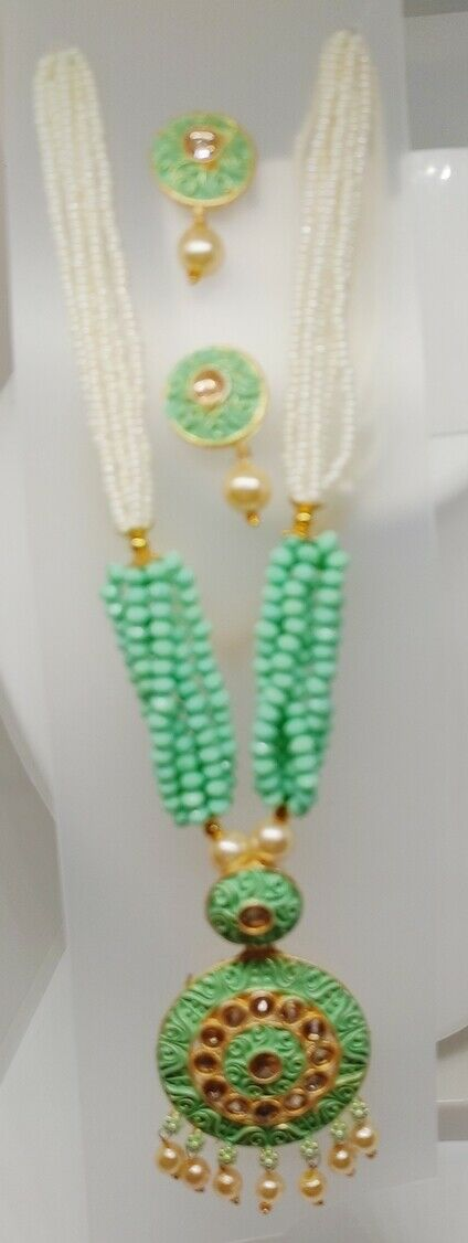 Indian Long Green Necklace Set Gold Plated Bridal Pearl Mala Set Multi - D19