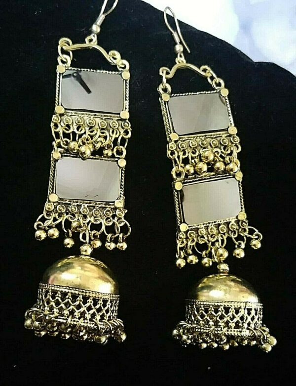 Indian Kashmir Oxidized Jhumka Mughal Jhumki Silver Plated Bollywood Antique