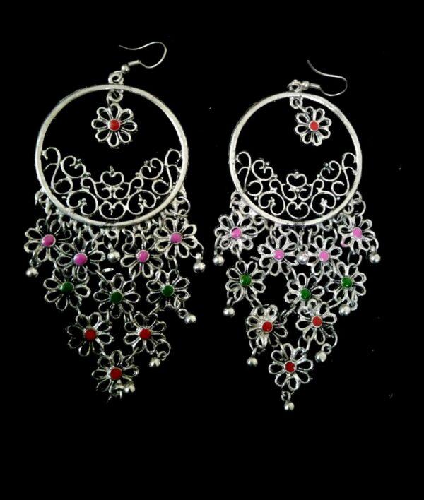 Kashmir Antique Indian Oxidized Jhumka Mughal Jhumki Silver Plated Bollywood