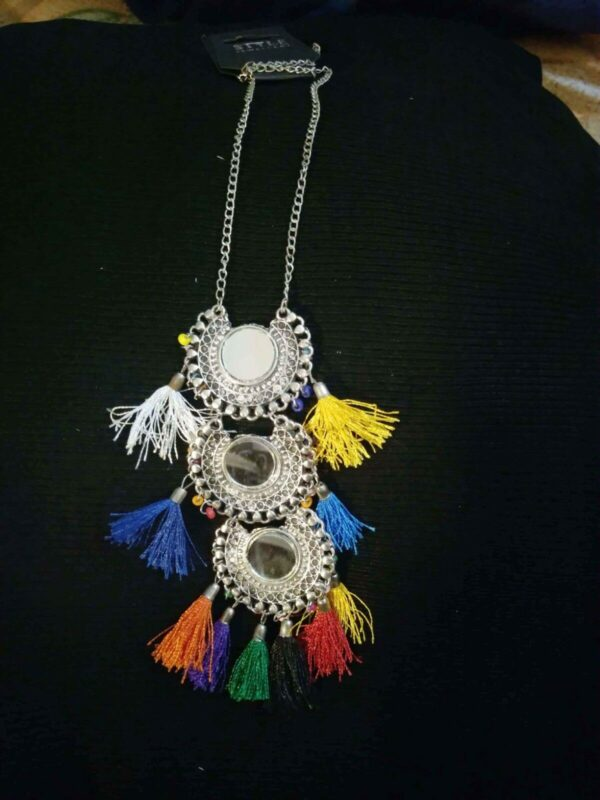 Multi Color Indian Traditional Ethnic Hoop Silver Oxidized Plated Necklace