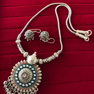 Bollywood Indian Traditional Silver Plated Oxidized Necklace Afghani RNDBLRD-N1