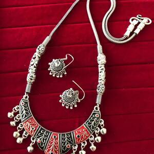 Bollywood Indian Traditional Silver Plated Oxidized Necklace Afghani LNGRDBL-N1