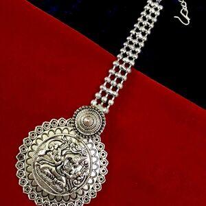 Silver Plated Bollywood Oxidized Metal Lord Ganesh Maang Tikka Forehead Tikka