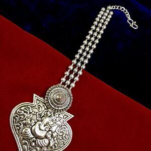 Lord Ganesh Forehead Tikka Oxidized Metal Silver Plated Indian Maang Tikka