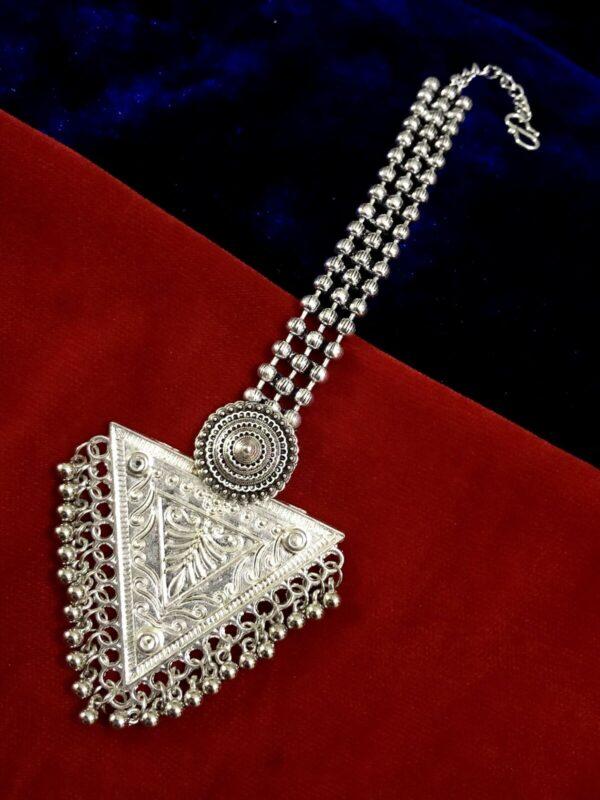 Indian Maang Tikka Metal Silver Plated Bollywood Oxidized Forehead Tikka