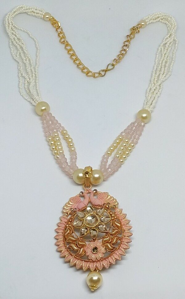 Light Pink Indian Long Necklace Set Gold Plated Bollywood Bridal Pearl Mala Set