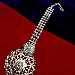 Maang Tikka Bollywood Indian Forehead Tikka Oxidized Metal Silver Plated