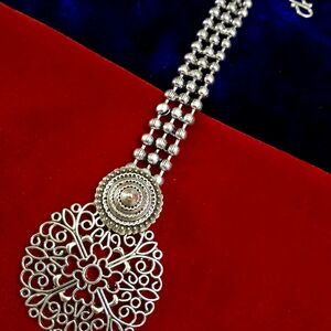 Bollywood Indian Maang Tikka Forehead Tikka Oxidized Metal Silver Plated