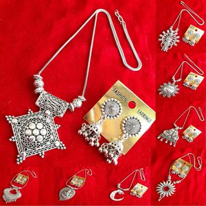 Necklace Set Afghani Tribal Indian Silver Plated Oxidized Jewelry Set With Ea...