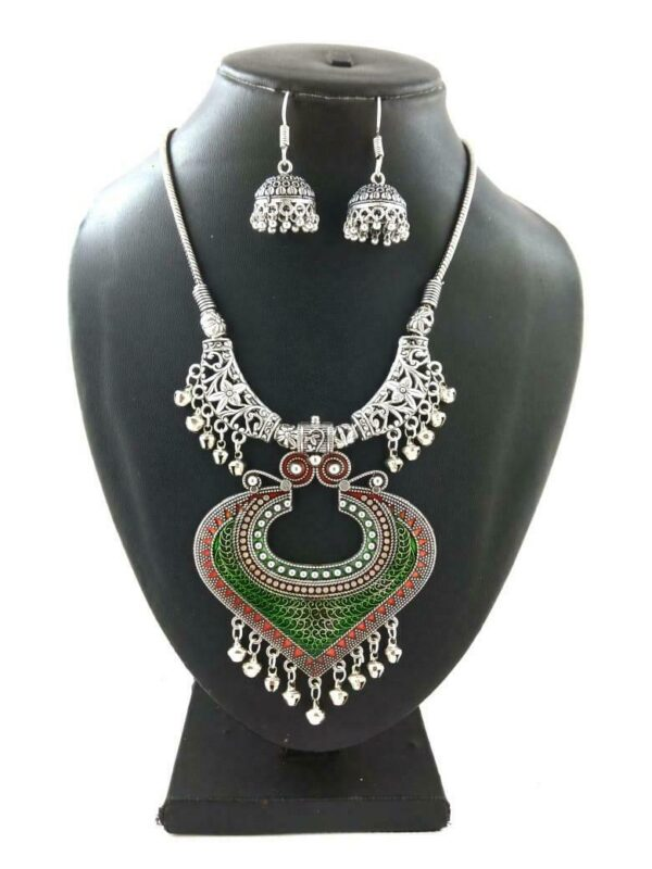 Bollywood Indian Traditional Silver Plated Oxidized Necklace Afghani HRTRDGR-N1