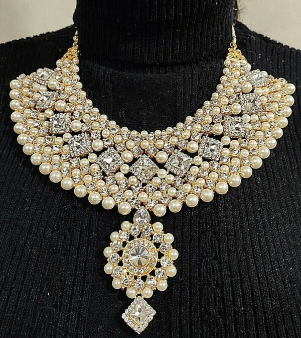 Indian Bollywood Choker Necklace Jhumki White Pearl Jewelry Party Wedding Bridal