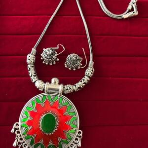 Bollywood Indian Traditional Silver Plated Oxidized Necklace Afghani RNRDGR-N1