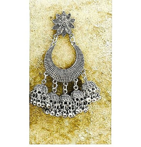 Long Indian Traditional Bollywood Silver Oxidized Mugal Jhumka Jhumki Earrings