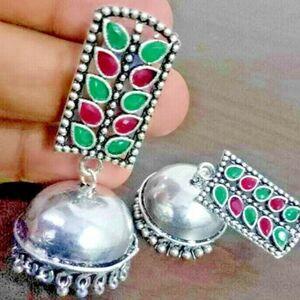 Magenta Green Zircon Stone Silver Plated Oxidized Jhumki Earrings Drop / Dongle