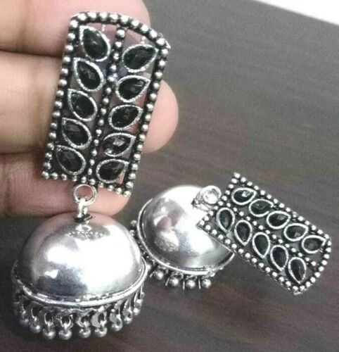 Cubic Zirconia Black Bollywood Silver Plated Oxidized Jhumki Earrings