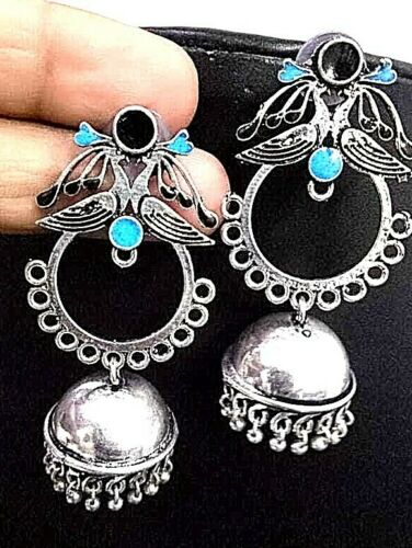 Blue Black Painted Silver Plated Oxidized Jhumki Earrings Drop / Dongle
