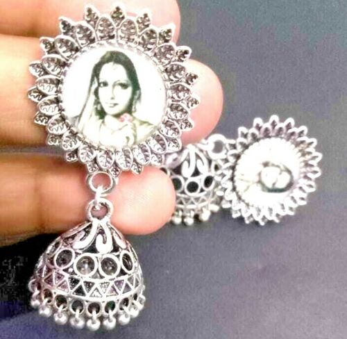 Old Traditional Bollywood Silver Plated Oxidized Jhumki Earrings Drop / Dongle
