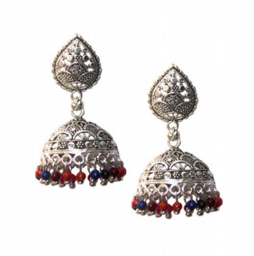 Kashmiri Indian Jhumki Mugal Jhumka Silver Plated Oxidized Earrings Tribal