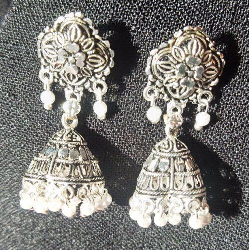 Indian Jhumki Mugal Jhumka Silver Plated Pearl Oxidized Traditional Earrings