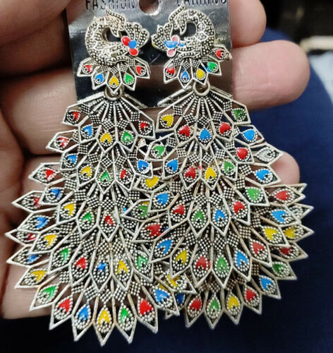 Ethnic Earrings Oxidized Silver Plated Handmade jhumki For women Multi Layer