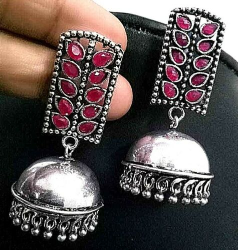 Long Magenta Stone Bollywood Silver Plated Oxidized Jhumki Earring Drop / Dongle