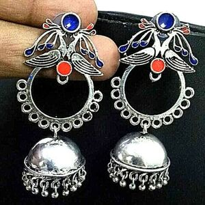 Traditional Bollywood Silver Plated Oxidized Jhumki Earring Blue Panted Peacock