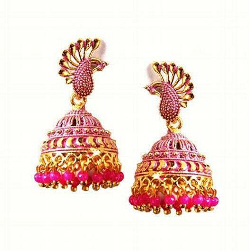 Mugal Jhumka Jhumki Silver Plated Oxidized Bollywood Traditional Kashmiri Pink