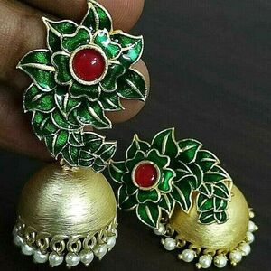 Red Green Dual Tone Bollywood Gold Plated Oxidized Jhumki Earrings White Pearl