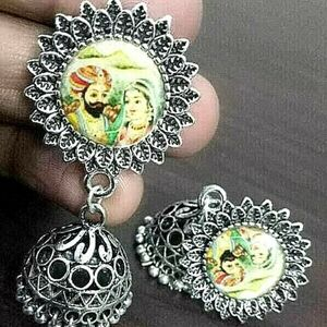 Marwar Traditional Bollywood Silver Plated Oxidized Jhumki Earring Drop / Dongle