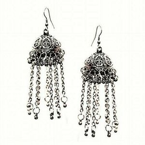 Indian Jhumka Mugal Jhumki Silver Plated Oxidized Bollywood Traditional Kashmiri